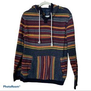 AEO Multicolored Striped Baja Hoodie Sweatshirt M